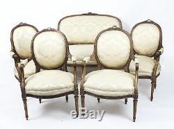 Antique French Louis Revival 5 Piece Salon Suite Sofa Armchairs 19th C