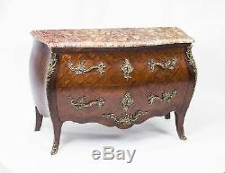 Antique French Louis Revival Parquetry Commode Chest Marble c. 1900