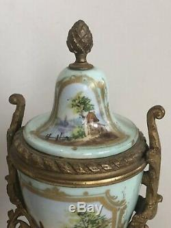 Antique French Louis The XVI Style Porcelain And Brass Clock And Garniture