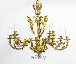 Antique French Louis XIV style nine branch ormolu chandelier 19th Century