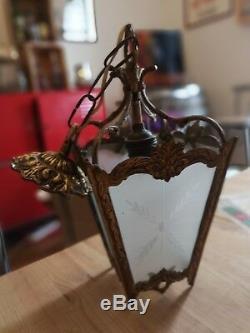 Antique French Louis XV Gilt Bronze & Ground Glass Lantern Chandelier