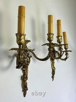 Antique French Louis XV Rococo Gilt Bronze 2-Light Wall Sconces Candelabra Lamps