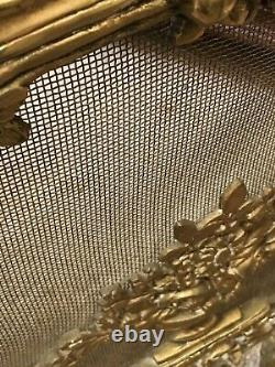 Antique French Louis XV Style Gilt Bronze Dore Fireplace Screen