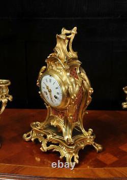 Antique French Louis XV Style Ormolu Rococo Clock Set