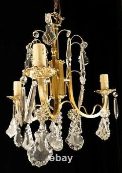 Antique French Louis XV bronze & glass chandelier chiseled & polished bronze
