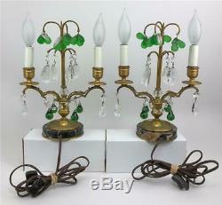 Antique French Louis XVI Bronze Crystal Fruit Girandole Boudoir Lamps Candelabra