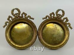 Antique French Louis XVI Bronze Ormolu Pair Round Photo Picture Miniature Frames