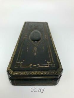 Antique French Louis XVI Empire Ebony Wood Ormolu AR Ladies Glove Box Casket
