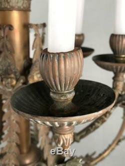 Antique French Louis XVI Empire Gustavian Bronze Brass 12-Light Chandelier Light