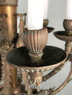 Antique French Louis XVI Empire Neoclassical Bronze Brass 12-Light Chandelier