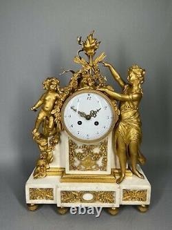 Antique French Louis XVI Gilded Bronze Mantel Clock/ Pendulum 1780