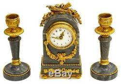 Antique French Louis XVI Mantel Clock & Candle Garniture Set! Petite miniature