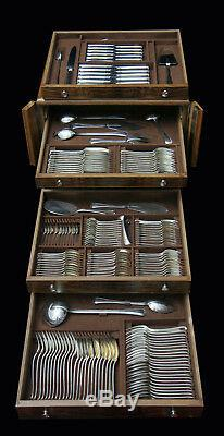 Antique French Louis XVI Minerva 1 Sterling Silver Flatware Set + Chest1900-1949