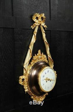 Antique French Louis XVI Ormolu and Bronze Cartel Wall Clock very large