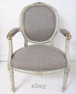 Antique French Louis XVI Painted Armchairs Reupholstered