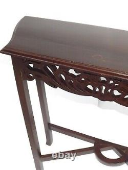 Antique French Louis XVI Rococo Style Carved Dark Wood Side Accent Lamp Table