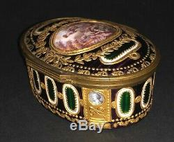 Antique French Louis XVI Style Enameled Gold Gilt Portrait Painted Snuff Box