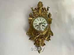 Antique French Louis XVI Style Gilt Bronze Japy Freres, 19 Century Wall Clock