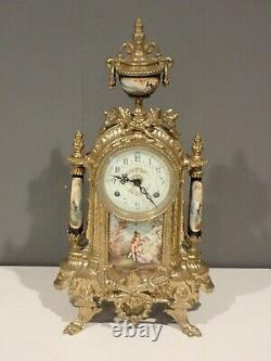 Antique French Louis XVI Style Porcelain & Brass German FHS Clock Victorian Urns