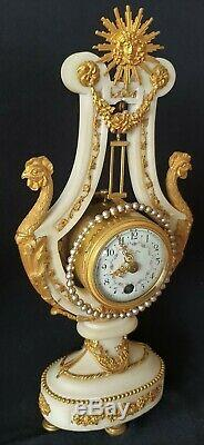 Antique French Lyre Clock Set Louis XVI Style Stunning Candelabras Mystery Clock