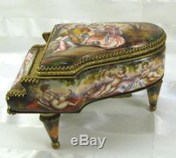 Antique French Musical Louis XVI Porcelain & Gilt Bronze Miniature Piano 5.5L