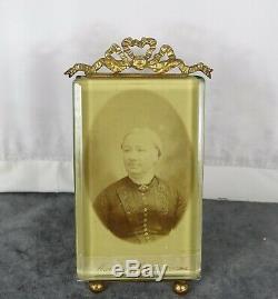 Antique French Nap III Bronze&Beveled Glass Photo Frame Louis XVI Ribbon