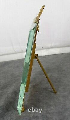 Antique French Nap III Bronze&Beveled Glass Photo Frame Louis XVI Ribbon 7tall