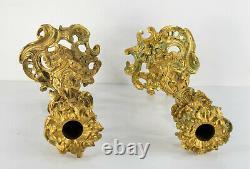 Antique French Ormolu Gilt Bronze Rococo Louis XVI Candlesticks Candelabras