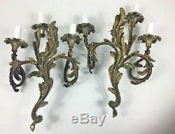 Antique French Pair of Solid Brass Rococo Louis XVI 3 Arm Wall Light Lamp Sconce