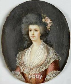 Antique French Portrait Miniature, Louis XVI Courtier, Lady in Wig & Wood Frame