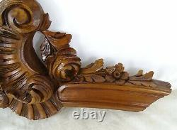 Antique French Rococo Hand Carved Wood Walnut Pediment Shell Louis XV Style