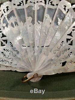 Antique French Rococo Painted Fan Mother Of Pearl Baroque 18th 19th C Louis XVI