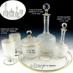 Antique French Saint Louis Acid Etched Cameo Glass Decanter Set, Tray & Goblets