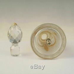 Antique French Saint Louis Acid Etched Cameo Glass Perfume Bottle Gilt Accents