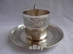 Antique French Sterling Silver Coffee Cup & Saucer, Louis 15 Style