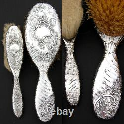 Antique French Sterling Silver Louis XVI Style 8pc Vanity Mirror & Brush Set