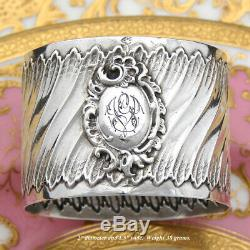 Antique French Sterling Silver Napkin Ring, Louis XV or Rococo Pattern, GV
