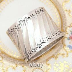 Antique French Sterling Silver Napkin Ring, Ornate Louis XVI/Rococo Swirled & Fl