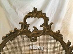 Antique French Style Rococo Fireplace Screen Ornate Freestanding Louis XV
