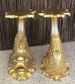 Antique French XL Dolphins Giltwood Pedestal Jardiniere, Chinoiserie Louis XV