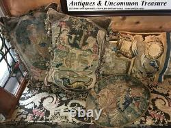 Antique French c1600s Fine Needlepoint Louis XIV Tapestry, Frame or Throw Pillow