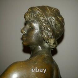 Antique French nude bronze sculpture David lion pelt by Louis Moreau 1890s