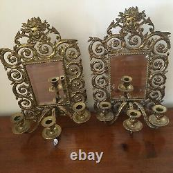 Antique French pair brass girandoles wall mirror with 3 sconces Louis XV Style