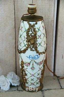 Antique French porcelain de Sevres Brass Louis XVI Table lamp floral marked