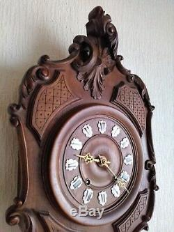 Antique French wooden cartel Louis XV style wall clock with repetition comtoise