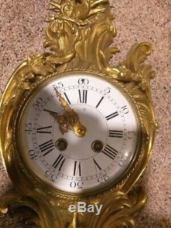 Antique Gilt Bronze cartel Wall Clock Paris Louis XV- mint condition