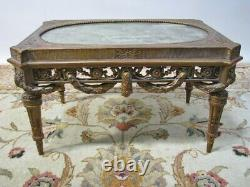 Antique Gilt French Louis XVI Taboret / Low Table With Green Marble Inset Top