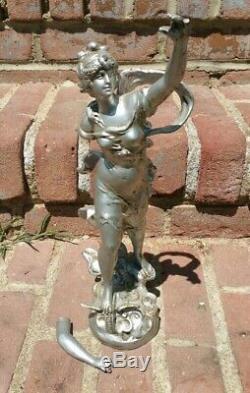 Antique LOUIS AUGUSTE MOREAU French Spelter Statue Signed France Art Nouveau