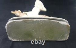 Antique LOUIS ICART FIGURINE Plaster Art Nouveau Woman with Greyhound FRENCH