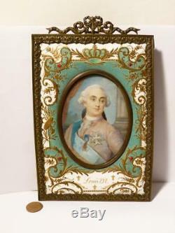 Antique LOUIS XVI French King Portrait Minitaure Signed DURAN Royal Enamel Frame